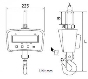CAS IE 700 Crane Scale dimensions