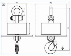 SENS OCS SWH2 High Temperature Proof Crane Scale dimensions