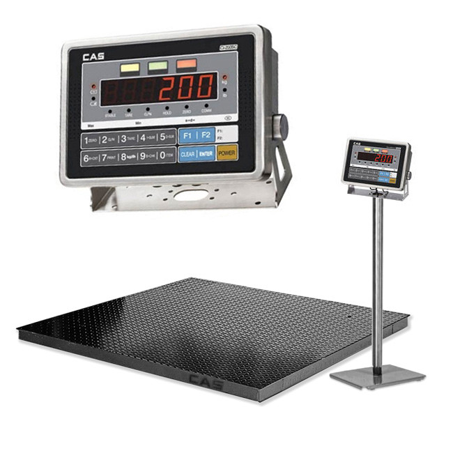 CAS CI200SC Wash-down Floor Scale->CI-200S-C / 1.5x1.5 m / Min 5 Kg to Max 5 ton / 500 gm