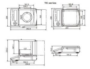 Shimadzu TX Precision Analytical Balances dimensions
